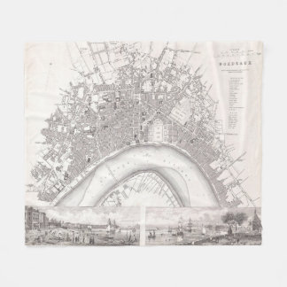 Vintage Map of Bordeaux France (1832) Fleece Blanket
