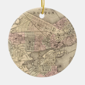 Vintage Map of Boston (1880) Christmas Ornament
