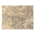 Vintage Map of Boston (1880) Postcard