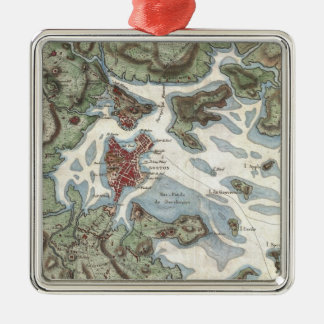 Vintage Map of Boston Harbor (1807) Christmas Ornament