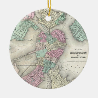 Vintage Map of Boston Harbor (1857) Christmas Ornament