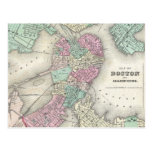 Vintage Map of Boston Harbour (1857) Postcards