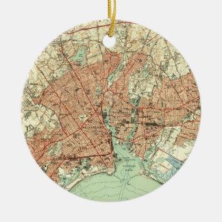 Vintage Map of Bridgeport Connecticut (1951) 2 Christmas Ornament