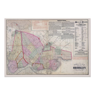 Vintage Map of Brooklyn New York City Poster