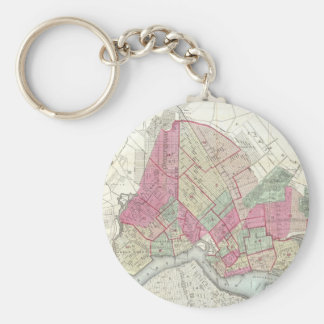 Vintage Map of Brookyln (1868) Basic Round Button Key Ring