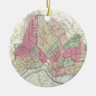 Vintage Map of Brookyln (1868) Christmas Ornament
