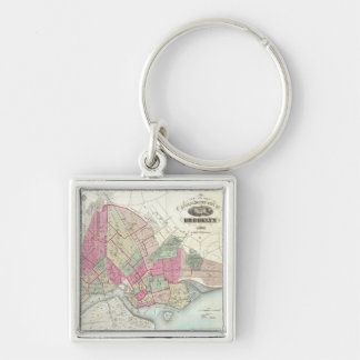 Vintage Map of Brookyln (1868) Silver-Colored Square Key Ring