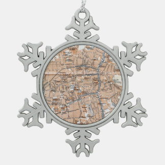 Vintage Map of Bruges (1905) Snowflake Pewter Christmas Ornament