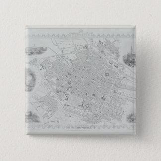 Vintage Map of Brussels 15 Cm Square Badge