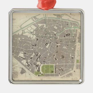 Vintage Map of Brussels (1837) Christmas Ornament