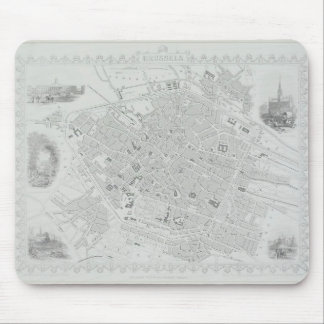 Vintage Map of Brussels Mouse Mat