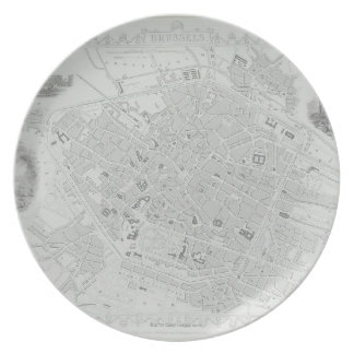 Vintage Map of Brussels Party Plates