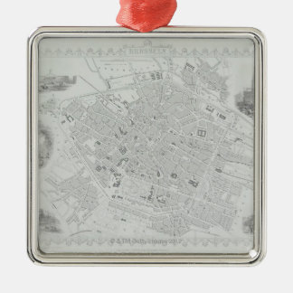 Vintage Map of Brussels Silver-Colored Square Decoration