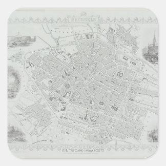 Vintage Map of Brussels Square Sticker