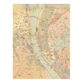 Vintage Map of Budapest Hungary (1884) Post Cards