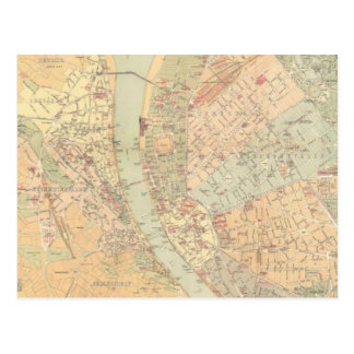 Vintage Map of Budapest Hungary (1884) Post Card