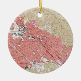 Vintage Map of Burbank California (1966) Christmas Ornament