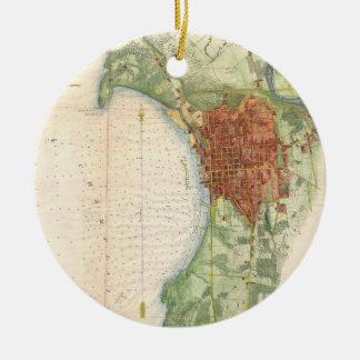 Vintage Map of Burlington Vermont (1763) Christmas Ornament