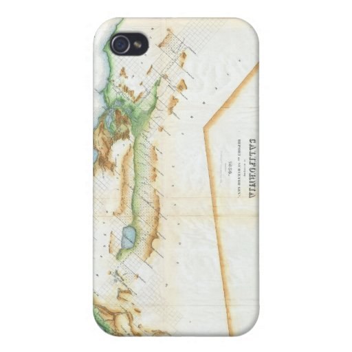 Vintage Map of California (1854) Cases For iPhone 4