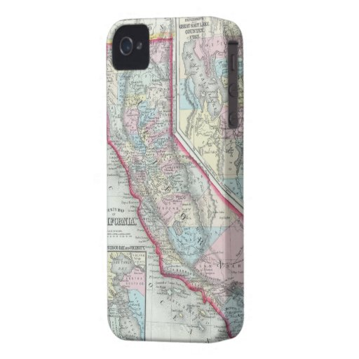 Vintage Map of California (1860) iPhone 4 Case-Mate Cases