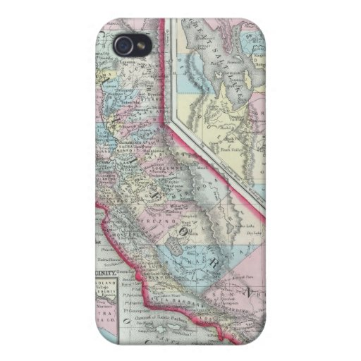 Vintage Map of California (1860) iPhone 4/4S Cases