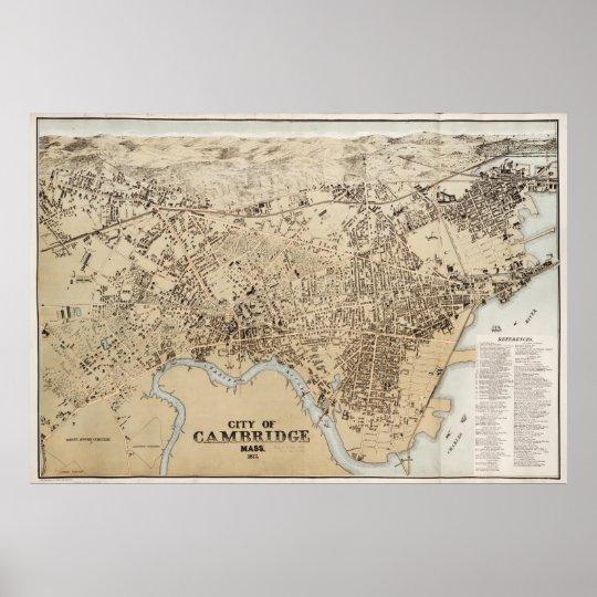Vintage Map of Cambridge Massachusetts (1877) Poster