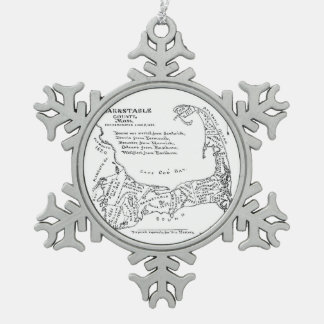 Vintage Map of Cape Cod (1890) Pewter Snowflake Decoration