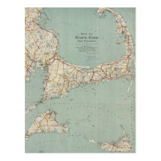 Vintage Map of Cape Cod (1917) Postcard