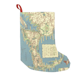 Vintage Map of Cape Cod (1940) Small Christmas Stocking