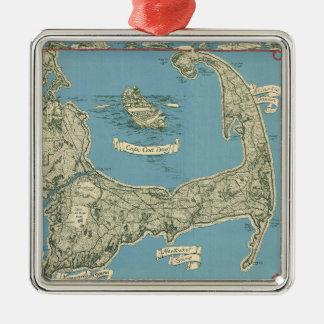 Vintage Map of Cape Cod (1945) Silver-Colored Square Decoration