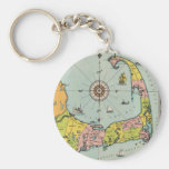 Vintage Map of Cape Cod Basic Round Button Key Ring