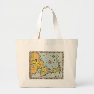 Vintage Map of Cape Cod Large Tote Bag