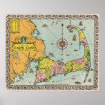 Vintage Map of Cape Cod Print