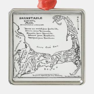 Vintage Map of Cape Cod Silver-Colored Square Decoration