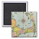 Vintage Map of Cape Cod Square Magnet