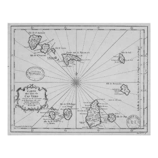 Vintage Map of Cape Verde (1746) Poster
