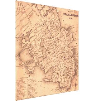 Vintage Map of Charleston South Carolina (1849) Canvas Print