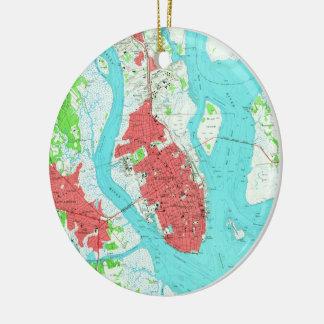Vintage Map of Charleston South Carolina (1958) 2 Christmas Ornament