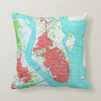 Vintage Map of Charleston South Carolina (1958) 2 Cushion