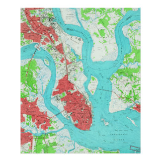 Vintage Map of Charleston South Carolina (1958) 2 Poster