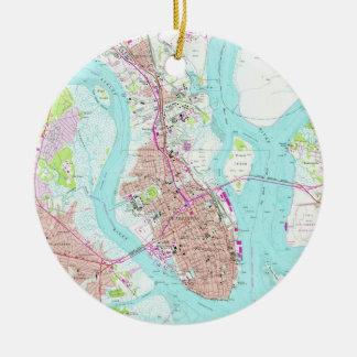 Vintage Map of Charleston South Carolina (1958) Christmas Ornament