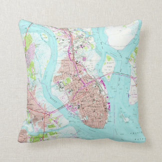 Vintage Map of Charleston South Carolina (1958) Cushion