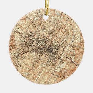 Vintage Map of Charlottesville Virginia (1960) Christmas Ornament