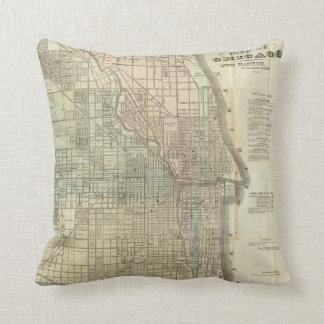 Vintage Map of Chicago (1857) Cushion