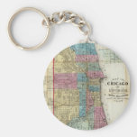 Vintage Map of Chicago (1869) Basic Round Button Key Ring