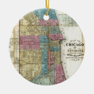 Vintage Map of Chicago (1869) Christmas Ornament