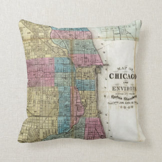 Vintage Map of Chicago (1869) Cushion