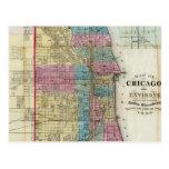 Vintage Map of Chicago (1869) Postcards