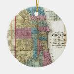 Vintage Map of Chicago (1869) Round Ceramic Decoration