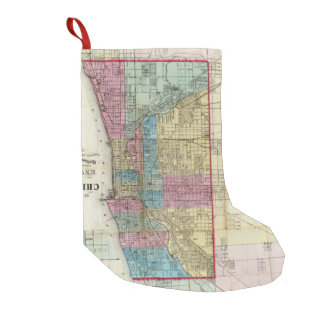 Vintage Map of Chicago (1869) Small Christmas Stocking